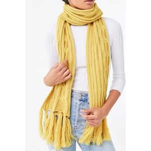 Forever 21 Yellow Cable Knit Scarf - NWT
